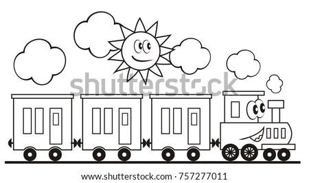 Train Set Three Wagons Locomotive Funny Stock Vector