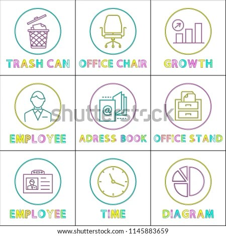 office chair diagram white and a half trash can growth stock vector royalty free with arrow up round scheme