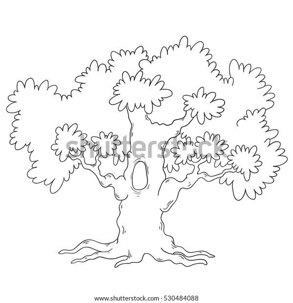 Tree Coloring Book Cartoon Tree Circuit Stock Vector