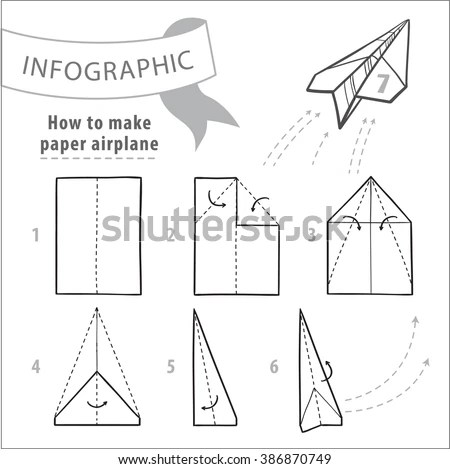 Tutorial Instructions How Make Airplane Black Stock Vector