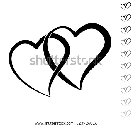 Two Hearts Black Vector Icon Ten Stock Vector (Royalty