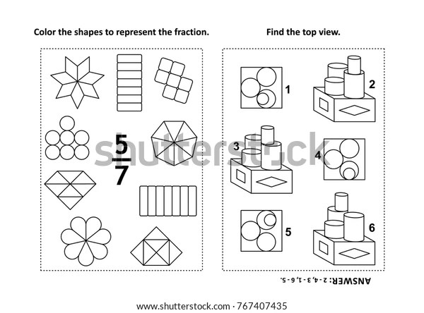Two Visual Math Puzzles Coloring Pages Stock Vector