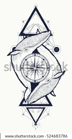 Compass Tattoo Design Sketch