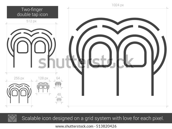 Twofinger Double Tap Vector Line Icon Stock Vector