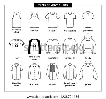 Types Mens Shirts Names Vector Outline Stock Vector