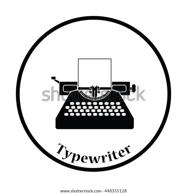 Typewriter Icon Thin Circle Design Vector Stock Vector
