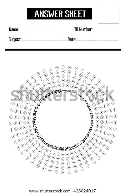 Typical Round Multiple Choice Answer Sheet Stock Vector