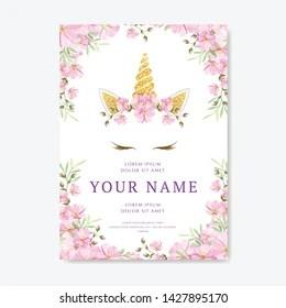 https www shutterstock com image vector unicorn invitation card floral wreath 1427895170