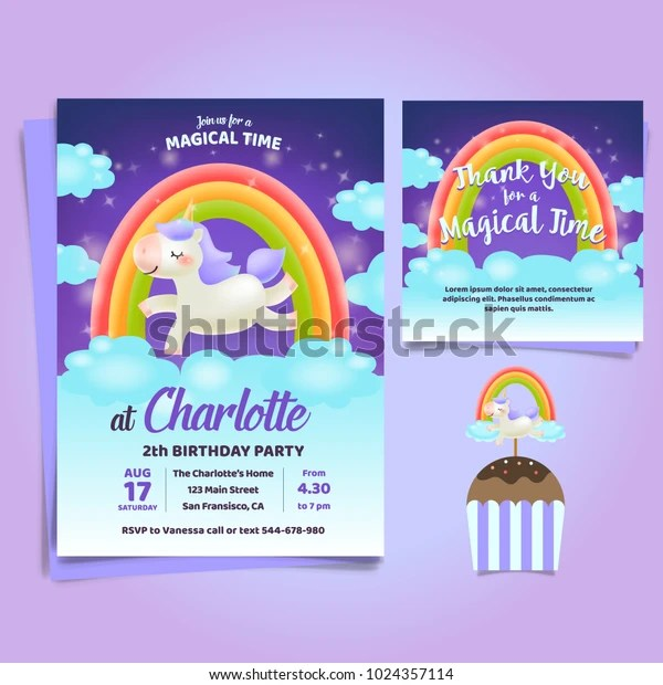https www shutterstock com image vector unicorn little pony theme birthday invitation 1024357114