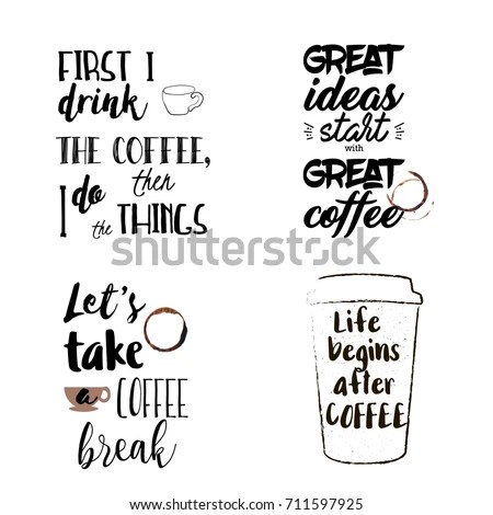 Unique Set Funny Motivational Coffee Sayings Stock Vector