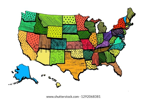 One way to really get to know your neighbor is through a map, where data shows us the opinions of other states. Vektor Stok United States America Color Map Isolated Tanpa Royalti 1292068381