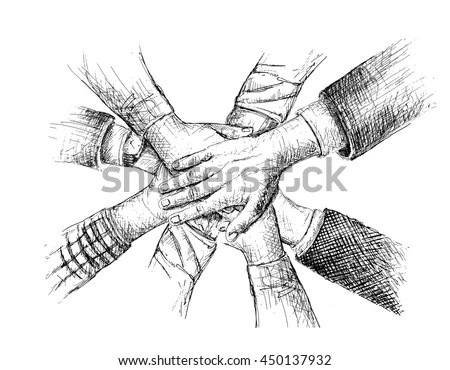 Unity Hands Sketch Vector Illustration Stock Vector