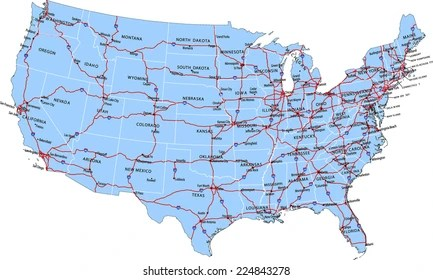 Detailed road maps of all states showing all cities and attractions. Usa Interstate Map Images Stock Photos Vectors Shutterstock