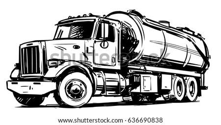 Vacuum Truck Sketch Stock Vector (Royalty Free) 636690838
