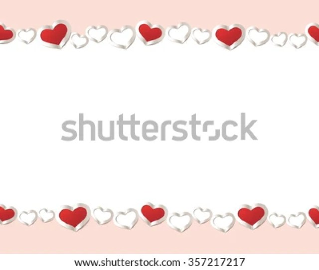 Valentines Day Background Red Hearts Border Frame Vector Frame With Space For Your Text