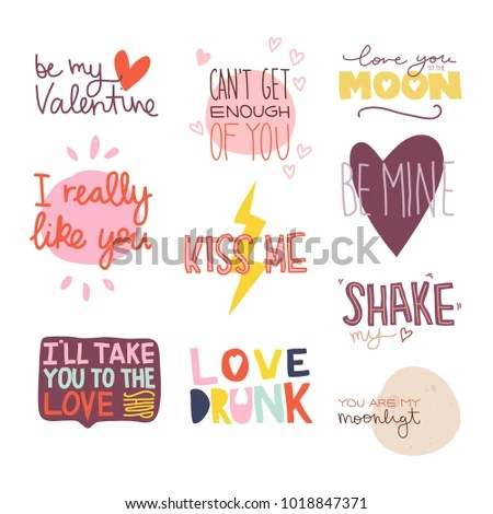 Valentines Day Sayings And Wishes Set Of Text Labels Vector Hand Drawn Illustration