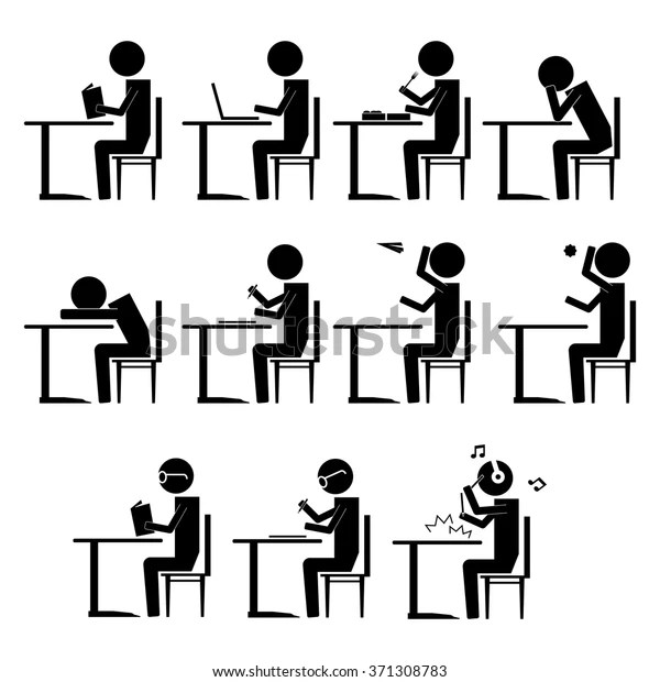 Various Students Behavior Inside Class Info Stock Vector