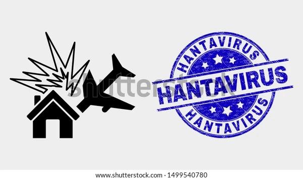 Vector Airplane Disaster Icon Hantavirus Stamp Stock Image ...