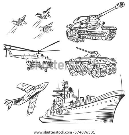 Vector Army Vehicles Sketch Set Black Stock Vector