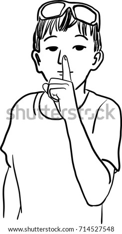 Vector Art Drawing Silent Please Sign Stock Vector