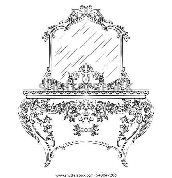 Vector Baroque Dressing Table Mirror Frame Stock Vector