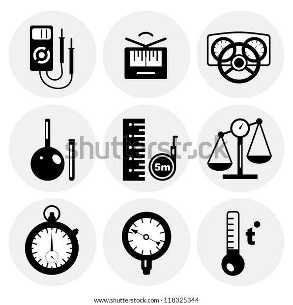 Vector Black Measurement Icons Icon Set Stock Vector