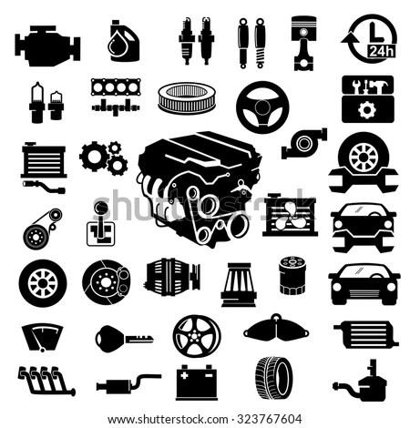 Vector Car Parts Set Icons Stock Vector (Royalty Free