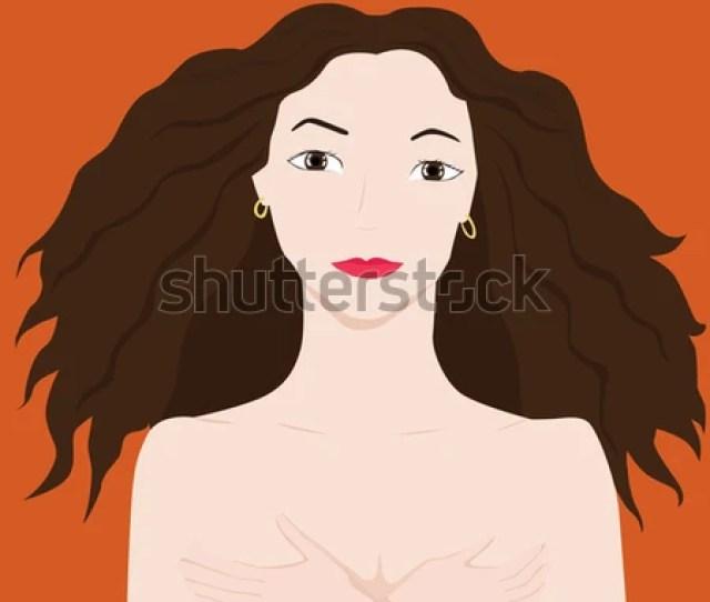 Vector Cartoon Illustration Of A Nake Girl