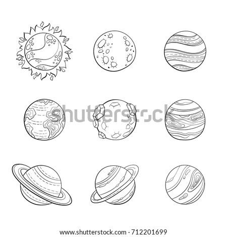 Vector Cartoon Planets Education Space Illustration Stock