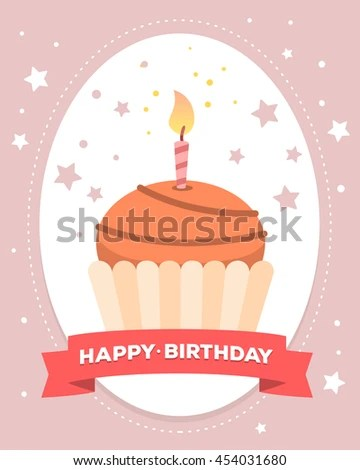 Vector Colorful Illustration Happy Birthday Template Stock Vector