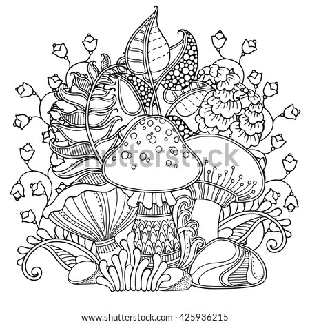 Vector Composition Grass Mushrooms Doodle Style Stock