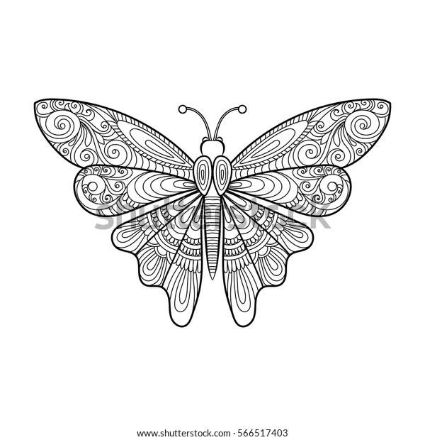 Vector Decorative Butterfly Coloring Page Stock Vector