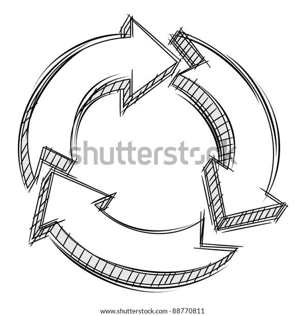 Vector Doodle Three Circular Arrows Stock Vector (Royalty