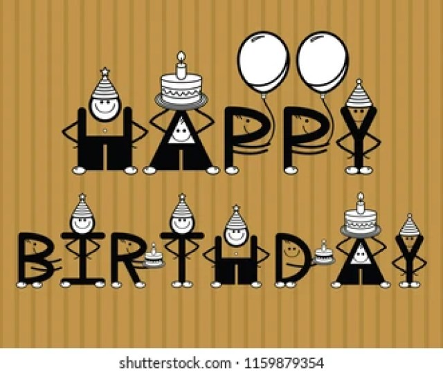 Vector Funny Happy Birthday Text With Funny Characters