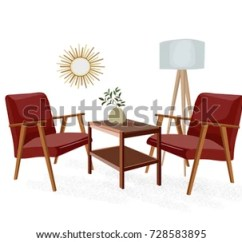 Mid Century Modern Living Room Armchair Wall Decor For India Vector Furniture Illustration Stock Armchairs And Table 1960 1950