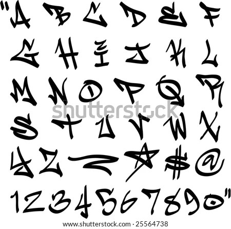 Vector Graffiti Marker Alphabet Numbers Stock Vector