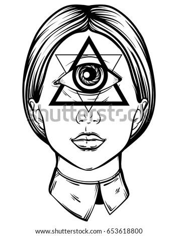 Vector Hand Drawn Illustration Cyclops Tattoo Stock Vector