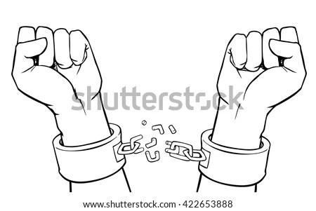 Vector Hands Shackles Broken Chain Stock Vector (Royalty