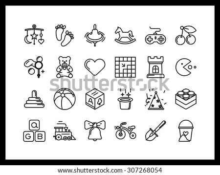 Vector Icon Set Modern Style Childrens Stock Vector