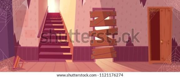 Vector de stock libre de regalías sobre Dibujo vectorial de una casa abandonada1121176274