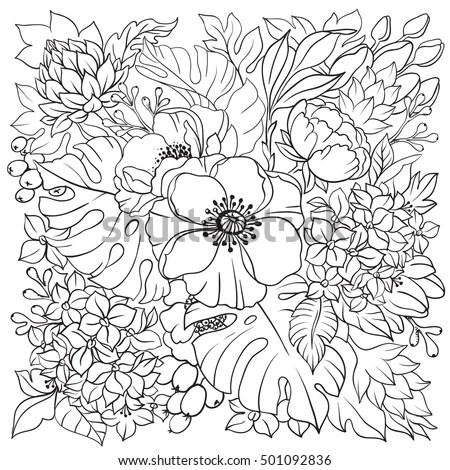 Vector Illustration Adult Coloring Page Floral Stock