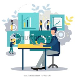 Vector Illustration Business Employees Study Infographics Stock Vector Royalty Free 1249237297