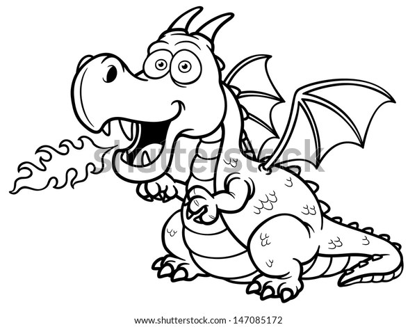 Vector Illustration Cartoon Dragon Fire Coloring Stock