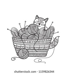 Balls Of Yarn In Wicker Basket Images, Stock Photos