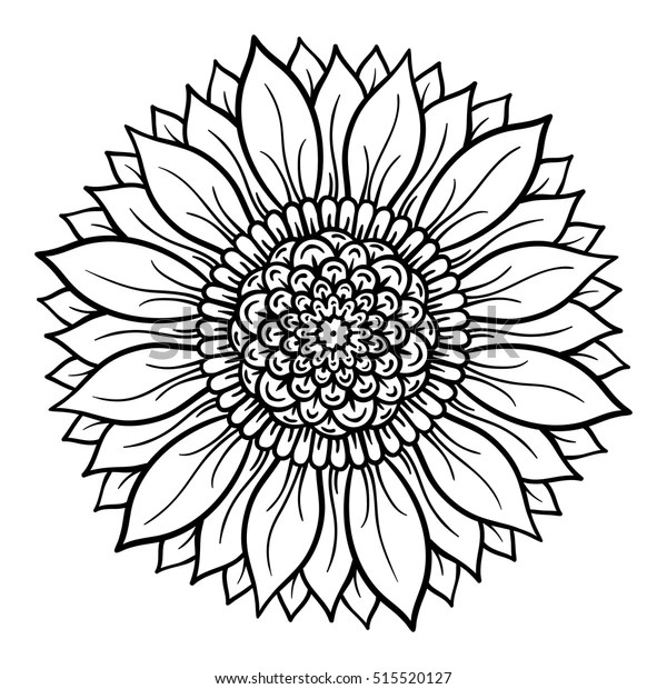 Vector Illustration Flower Mandala Coloring Page Stock