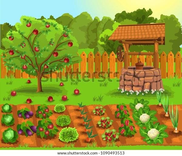 Vector Illustration Garden Apple Tree Old Stock Vector Royalty Free 1090493513