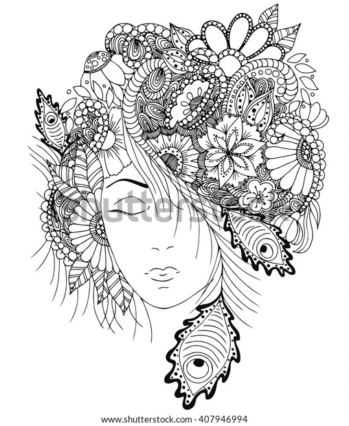 Vector Illustration Girl Flowers Zentangle Snail Stock