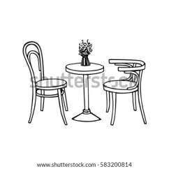 Retro Cafe Table And Chairs Heavy Duty Beach Chair Vector Illustration Hand Drawn Coffee Stock Royalty Of Vintage Lovely Scene