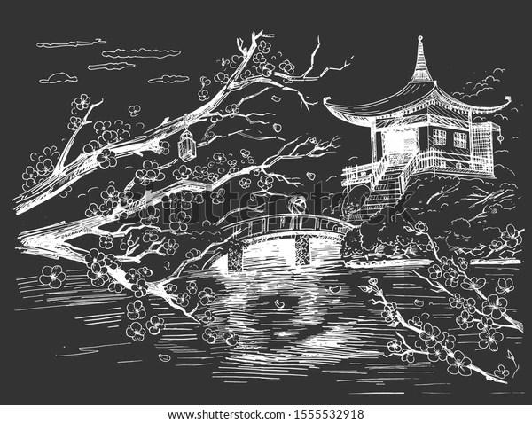https www shutterstock com fr image vector vector illustration japanese traditional landscape sakura 1555532918