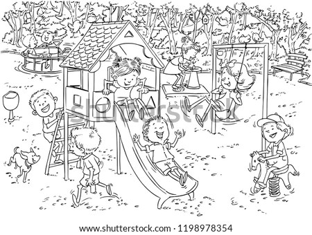 Children In Park Coloring Pages Sketch Coloring Page